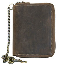 Natural genuine leather wallet with metal zipper around with chain without logos