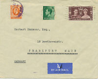 2402 1937 Coronation Georg VI FDC on uprated AIRMAIL cvr to FRANKFORT 2 diff.FDI