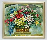 Colorful Flowers Floral Bouquet 20 x 24 Art Oil Painting on Canvas w/Wood Frame