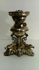 VINTAGE OIL LAMP BASE SILVER PLATED DOLPHIN ADORNMENTS