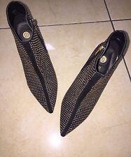 River Island Black & Gold Pointed Studded Heels Size UK 6 (EU 39)