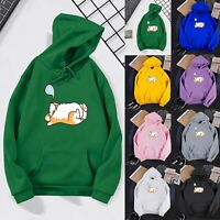 Women Teen Cute Casual Hoodies Dog Sleep Printed Hooded Sweatshirt Pullover Tops