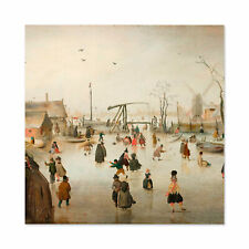 Avercamp Iceskating In A Village Painting Wall Art Canvas Print 24X24 In