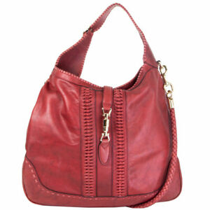 62420 auth GUCCI x GREEN CARPET CHALLENGE burgundy leather NEW JACKIE Hobo Bag