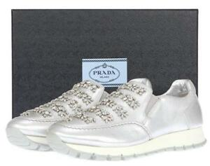 NEW PRADA LUXURY SWAROVSKI CRYSTALS SILVER LEATHER SNEAKERS CASUAL SHOES 39.5