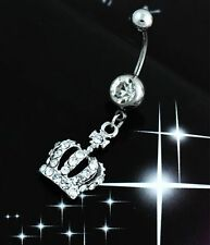 Crown Rhinestone Crystal Body Piercing Jewelry Chic Navel Belly Button Bar Ring