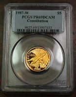 1987-W $5 Gold Constitution Coin, PCGS PR-69 DCAM