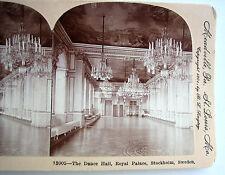 PHOTO STEREO KEYSTONE 1901 SALON DE DANSE ROYAL PALACE STOCKHOLM SWEDEN SUEDE