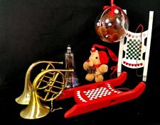 Lot of 7 Vintage Christmas Wooden Plastic fabric Figurine Ornaments Sled Bell