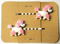 POODLE Dog Character Animal - Handmade Bobby PIn Hair clips - Set of 2