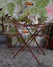 Table De Jardin Rouge Metal Maison Campagne Vintage Shabby Meubles Fer Français