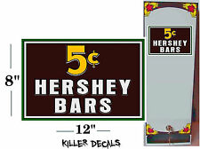 "12"" -5 CENT HERSHEY CANDY BAR FOR SODA POP VENDING MACHINE COOLER"