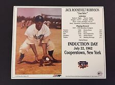 JACKIE ROBINSON BROOKLYN DODGERS 8X10 HALL OF FAME INDUCTION DAY CARD