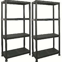 2 x Black Plastic Shelving Units in Black with 4 Shelves Storage Organiser
