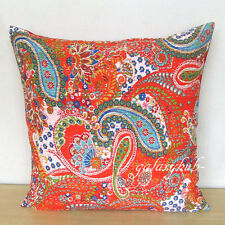"24"" Large Orange Cushion Covers Kantha Stitch Pillow Cover Room Decorative Throw"