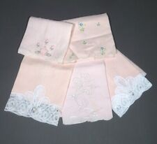 Five Pink Embroidered Vintage Napkins, Lace, Embroidery