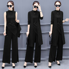 New Women's Korean Fashion Classic Knitted Cardigan Wide Pants Three-piece Suit