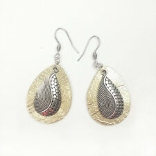 Handmade Distressed Gold Metallic Leather Silver Drop Dangly Womans Earrings