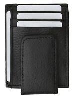 Leather Slim Design Magnetic Money Clip 3 Credit Card Holder Black Men's Wallet