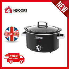 Tower T16018BL 3.5l Slow Cooker With 3 Heat Settings in Black -