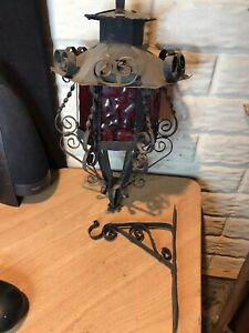 Vintage Spanish Colonial Tin Glass Pendant Light Fixture Gothic Red stained glas