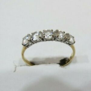 VINTAGE GOLD RING W/5 CUBIC ZIRCONIA STONES .25 CARATS EACH (1.25 total Carats).