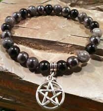 Triple Protection Bracelet black tourmaline, larvikite, hermatite 8mm pentagram