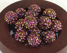 Rhinestone Pave Shamballa Beads Acrylic Disco Ball 14mm x 16mm - 25 pieces