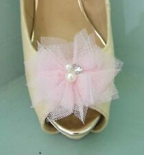 2 Light Pink Netted Clips for Shoes with Pearl & Diamante Centre