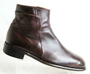 Bally Sabo Men's 9.5 D Zip Leather Ankle Boots Brown Made in Italy