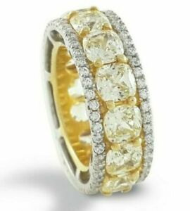 925 Sterling Silver Ring Yellow Cushion White Round Eternity Band Women