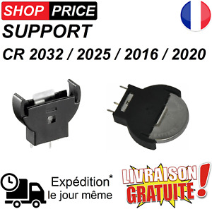 Support vertical socket pour pile bouton CR2032 / CR2025 / CR2020 / CR2016
