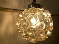 Vintage Bubble Amber Pendant light by Helena Tynell for Limburg, 1960's Original