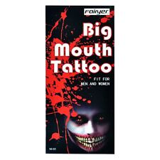 Temporary Tattoos Big Mouth Halloween Fancy Dress Party Costume Accessories