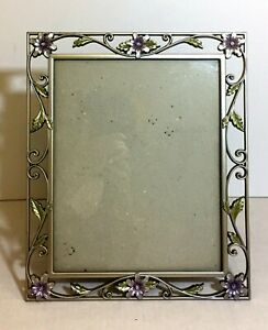 """Metal Floral Purple Flower Green Leave 12"""" x10"""" Photo Frame for 10"""" x 8"""" Picture"""