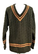 NEW & LINGWOOD MEN'S GREEN CASHMERE V-NECK SWEATER, XXL, $495