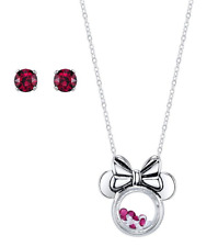 """MINNIE MOUSE DISNEY FLOATING CHARM NECKLACE SET RED STUD DISNEY OFFICIAL 16-18"""""""