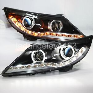 LED Front Lights 2009-2013 Year For KIA Sportage R LED Angel Eyes lamps TLZ