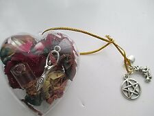 PAGAN CLEAR HEART WITCH BALL,INCENSE,MOTHER EARTH,PENTAGRAM..HANG IN THE WINDOW