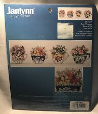 Janlynn Counted Cross Stitch Kit Row of Teacups Flowers Floral #021-1409