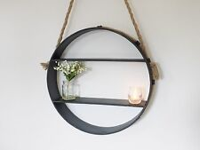 Retro Industrial Metal Wall-Mounted Circular/Round Shelves with Rope Hanging