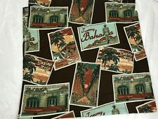 Tommy Bahama Home Shower Curtain Brown Casino Strip Cotton Hook Style