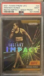 2021 Prizm UFC Amanda Nunes Gold /10 PSA 9 Mint Instant Impact #24 1st Year