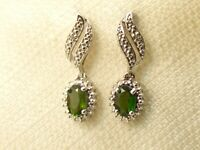 Estate Sterling Silver Chuck Clemency NYC II Chrome Diopside Earrings .925