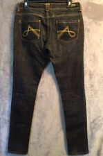 "AKADEMIKS Blue Skinny Denim Embroidered Jeans Women's Sz 29 (Waist 31.5"")cb222"