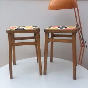 2 Retro Kitchen Stools Newly Recovered In Orla Kiely Scribble Pear Vinyl