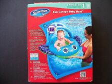 Swim Ways Baby Boat Float w/ Sun Canopy Step 1 9-24 months Inflatable Blue/Green