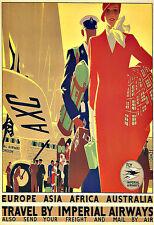 L'ARTE Annuncio FLY Imperial Airways EUROPA ASIA Drammatico aus Art Deco Poster stampati