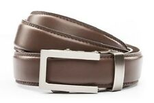 Anson Belt & Buckle. Mens traditional gunmetal buckle with brown leather strap
