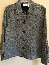 Alfred Dunner Ladies Size 8 Jacket/Blazer Black White Plaid Quilted Lined New